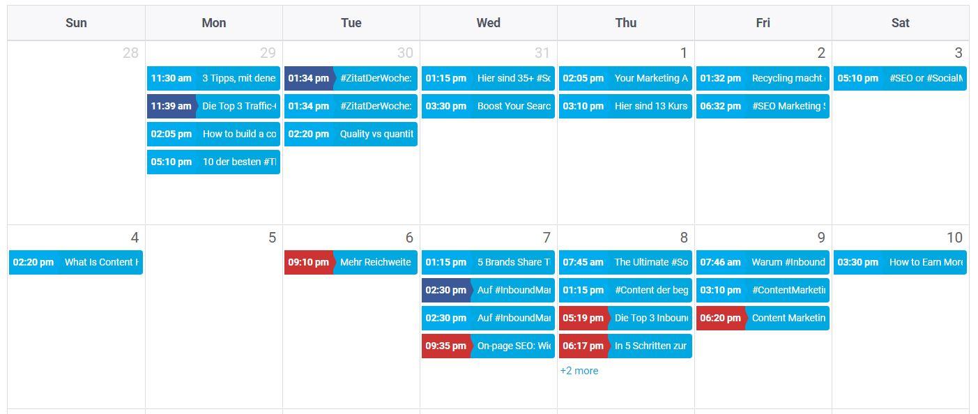SocialPilot Kalender - Hootsuite Alternative SocialPilot