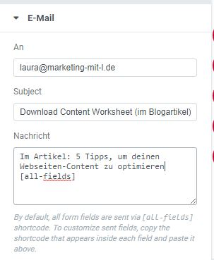E-Mail Einstellungen Formular im Text